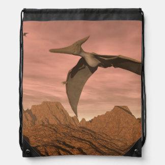 Pteranodon dinosaurs flying - 3D render Drawstring Bag