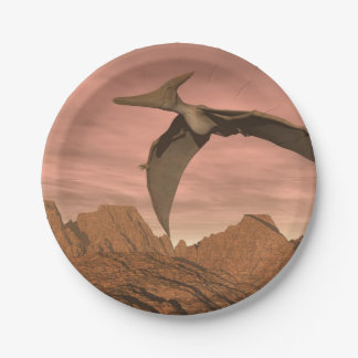 Pteranodon dinosaurs flying - 3D render Paper Plate