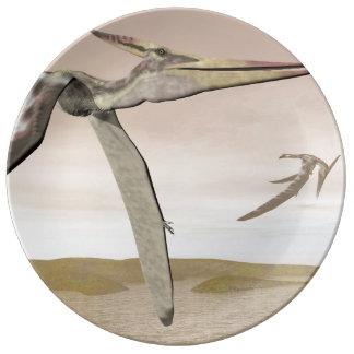 Pteranodon dinosaurs flying - 3D render Plate