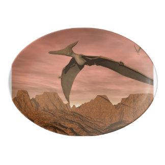 Pteranodon dinosaurs flying - 3D render Porcelain Serving Platter