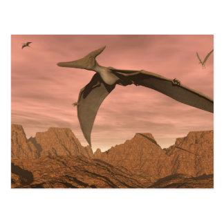 Pteranodon dinosaurs flying - 3D render Postcard