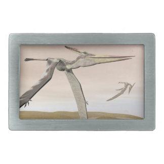 Pteranodon dinosaurs flying - 3D render Rectangular Belt Buckle