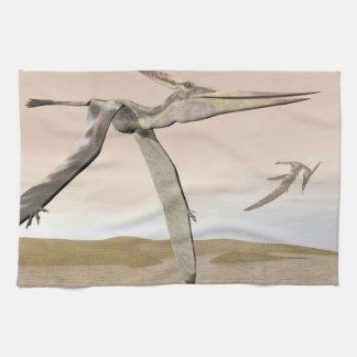 Pteranodon dinosaurs flying - 3D render Tea Towel