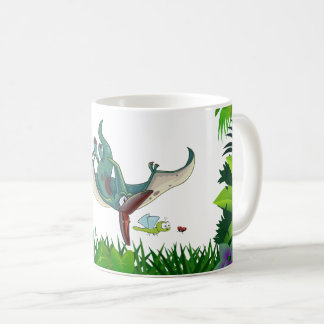 Pteranodon eating a dragonfly eating a ladybug coffee mug