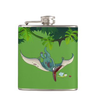 Pteranodon eating a dragonfly eating a ladybug hip flask