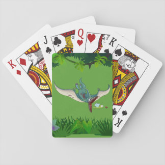 Pteranodon eating a dragonfly eating a ladybug poker deck