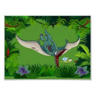 Pteranodon eating a dragonfly eating a ladybug poster