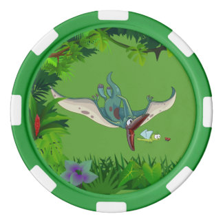 Pteranodon eating a dragonfly eating a ladybug set of poker chips