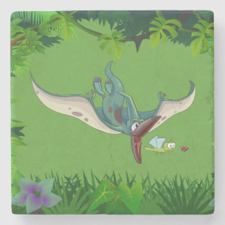 Pteranodon eating a dragonfly eating a ladybug stone coaster