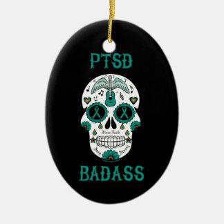 PTSD Badass sugar skull Ceramic Ornament