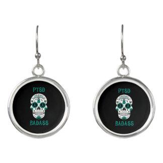 PTSD Badass sugar skull Earrings
