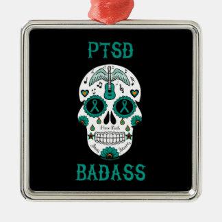 PTSD Badass sugar skull Metal Ornament