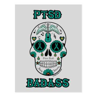 PTSD Badass sugar skull Postcard