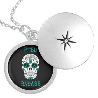 PTSD Badass sugar skull Silver Plated Necklace