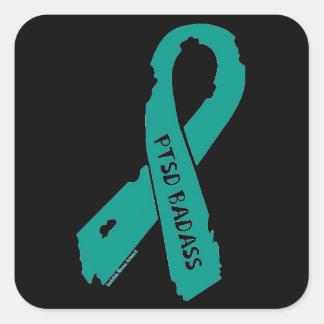 PTSD BADASS torn ribbon Square Sticker