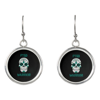 PTSD WARRIOR sugar skull Earrings
