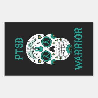 PTSD WARRIOR sugar skull Rectangular Sticker