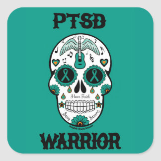 PTSD WARRIOR sugar skull Square Sticker