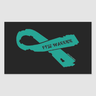 PTSD WARRIOR torn ribbon Rectangular Sticker