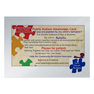 Public Autism Awarness Card Large Business Cards (Pack Of 100)
