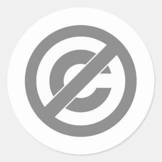 Public Domain Anti-Copyright Symbol Round Sticker