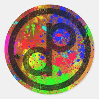 Public Domain Spatter Round Sticker