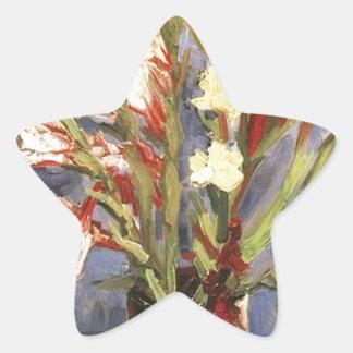 Public Domain Van Gogh Vintage Flower Image Star Sticker