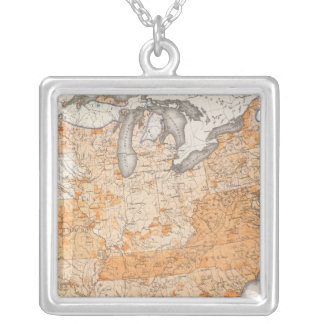Public Indebtedness, Statistical US Lithograph Silver Plated Necklace