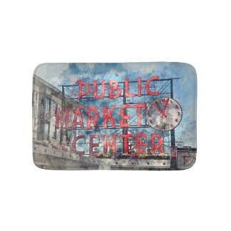 Public Market Center in Seattle Washington Bath Mat
