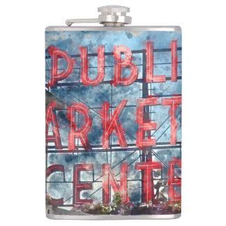 Public Market Center in Seattle Washington Hip Flask