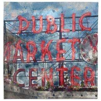 Public Market Center in Seattle Washington Napkin