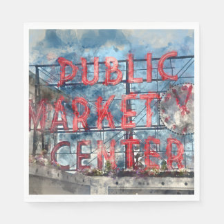 Public Market Center in Seattle Washington Paper Serviettes