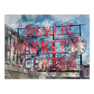 Public Market Center in Seattle Washington Postcard