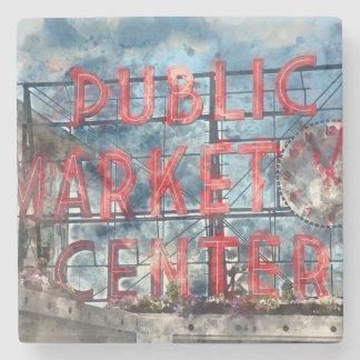 Public Market Center in Seattle Washington Stone Coaster