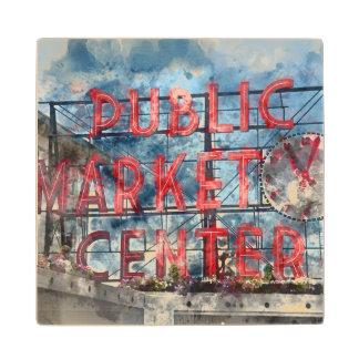 Public Market Center in Seattle Washington Wood Coaster