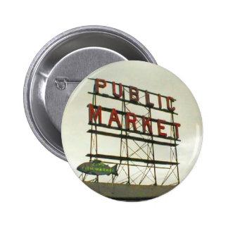 Public Market in Seattle, WA 6 Cm Round Badge