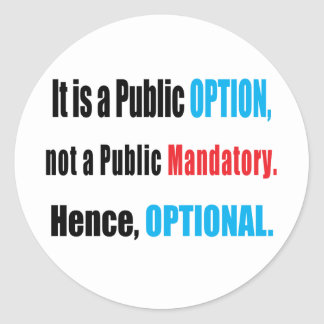 Public Option Round Sticker