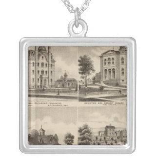 Public School, Court House, Minnesota Silver Plated Necklace