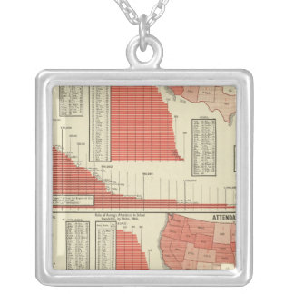 Public schools enrollment and attendance silver plated necklace