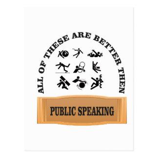 public speaking bad postcard
