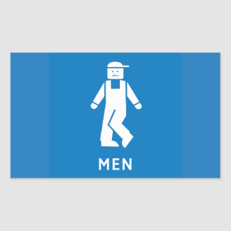 Public Toilet Men, Sign, California, US Rectangular Sticker