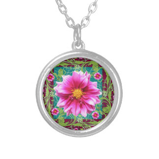 Puce-Pink Dahlias Floral Garden Fantasy Silver Plated Necklace