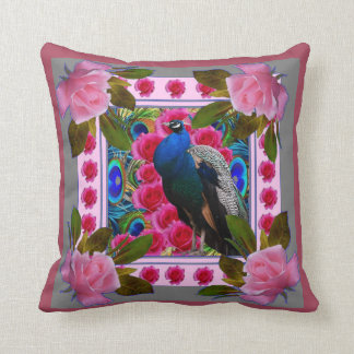 PUCE PINK ROSES & BLUE PEACOCK ART CUSHION
