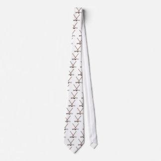 puck and hockey sticks design tie