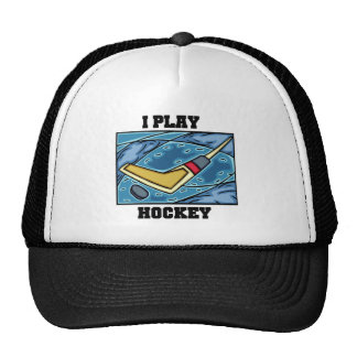 Puck and Stick I Play Hockey Tshirts and Gifts Cap