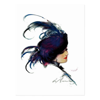 Puck's Blue-bird Lady Postcard