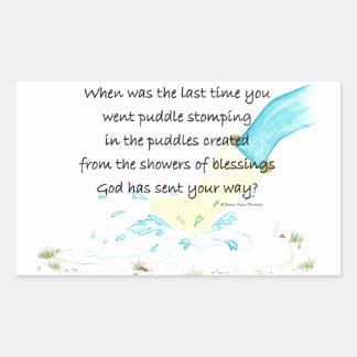 puddle stomping rectangular sticker
