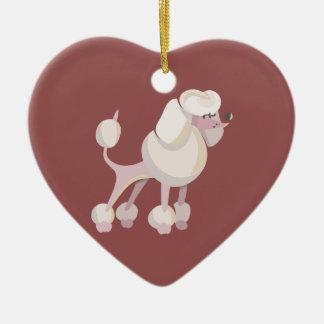 Pudel Hund poodle dog Ceramic Heart Decoration
