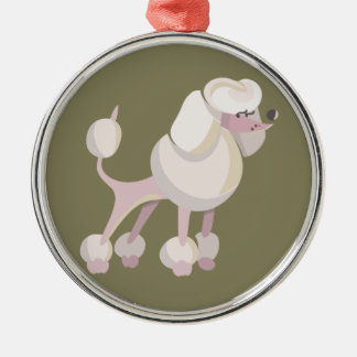 Pudel Hund poodle dog Silver-Colored Round Decoration