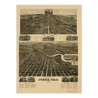 Pueblo, CO Panoramic Map - 1890  Poster